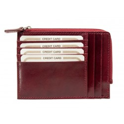 Credit Card holder in leather with zipper