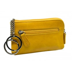 Genuine leather key ring with zip
