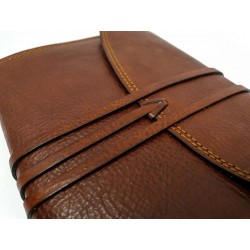 Leather agenda with lace + Pouch