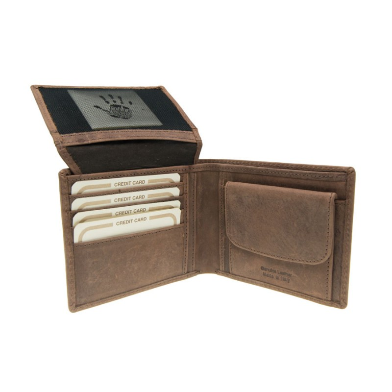 Genuine leather wallet with credit card holder and pocket. Vegetable tanning with vintage finish.